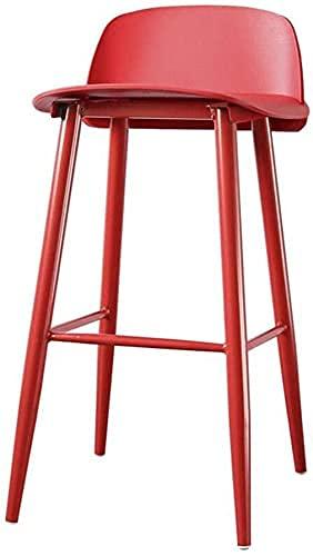 Dpliu Silla de Barra de decoración Cuero ergonómico Silla Trasera Delantera con Respaldo Hogar High Hobles Desayuno Barra de Taburete de Cocina (Color : Red B75cm)