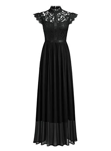 Miusol Damen Elegant Spitzen Abendkleid Brautjungfer Cocktailkleid Chiffon Faltenrock Langes Kleid Schwarz Gr.M - 4