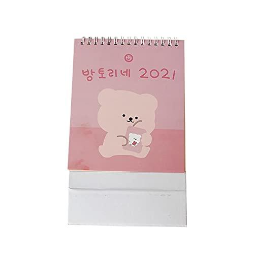 2021 dibujos animados lindo oso calendario de escritorio coreano Ins planificador calendario mensual estudiante Kawaii adorno de escritorio material escolar