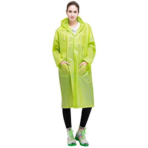 XINGRUI Rain Gear Supplies Mode pour Adultes Léger EVA imperméable Transparent Grand Chapeau à Capuchon avec Taille de Poche: L (Rose) (Color : Green)