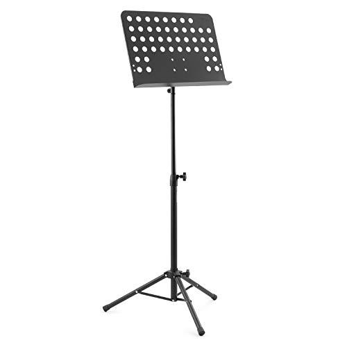 Atril de partituras para orquesta Tiger MUS7-BK, de construcción totalmente metálica - Soporte para partituras totalmente ajustable, Negro
