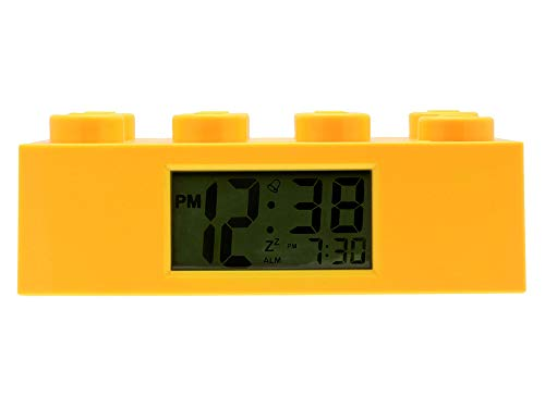 Gelber LEGO-Stein-Wecker für Kinder mit Hintergrundbeleuchtung , gelb , Kunststoff , 7 cm hoch , LCD-Display , Junge/ Mädchen , offiziell, 9002144