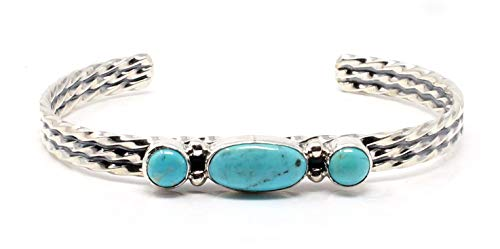 L7 Trading Sterling Silver Three Stone Turquoise Bracelet by Joan Spencer