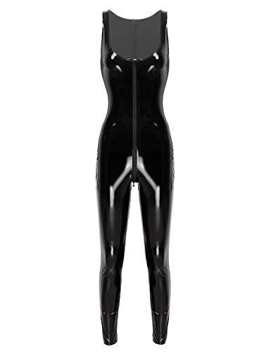 Agoky Damen Wetlook Leder Body Reißverschluss Sexy Tief U-Ausschnitt Ärmellos Shirt Hohe Taille Lang Hose Hüfthose Leggings Einteiler Hydrasuit Badeanzug In Schwarz Schwarz XL