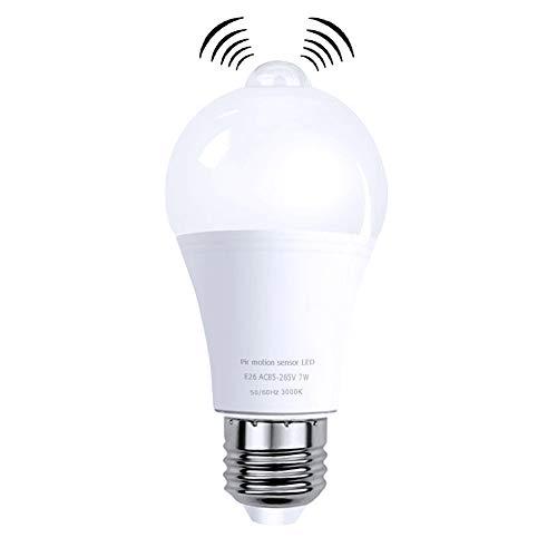 LED電球 人感センサー付き E26口金 60W形相当 赤外線搭載探知機 人体識別正確 明暗&人感センサー搭載 自動点灯/消灯 消し忘れ防止 目に優しい ?寿命 省エネ センサーライト 2年品質保証 (電球色)