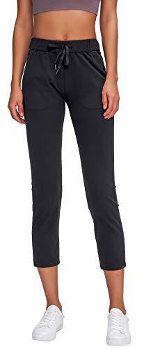 Ecupper Womens Yoga Pants Capri Drawstring Loose Lounge Workout Pants with Pockets Black 4