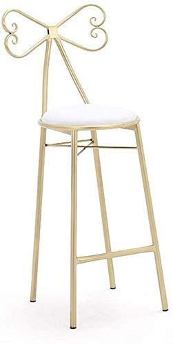 YLCJ barkruk van ijzer, make-up kruk, goudkleurig, voor thuis, slaapkamer, nachtkastje, café, ontvangststoel (kleur: B, maat: 65 cm) 75CM 10 Correas