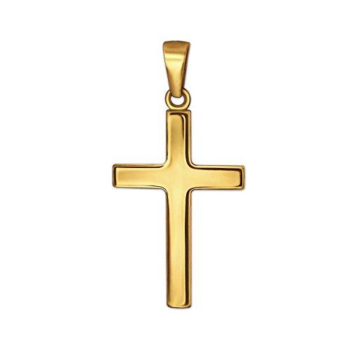 CLEVER SCHMUCK Goldener Anhänger kleines Kinder Kreuz 15 mm schlicht glänzend 333 Gold 8 Karat für Kinder