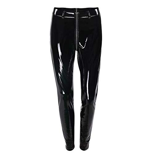 Alvivi Damen Leggings Sexy Welook Ouvert-Pants Lack Lederhose Hohe Taille Bleistifthose Pants Strumpfhose Party Clubwear Schwarz XXXL