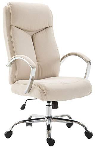 CLP Bürostuhl XL Vaud mit Stoffbezug, Chefsessel, Drehstuhl mit Armlehnen, Bürodrehstuhl mit hochwertige Polsterung, max. Belastbarkeit 140 kg, Farbe:Creme