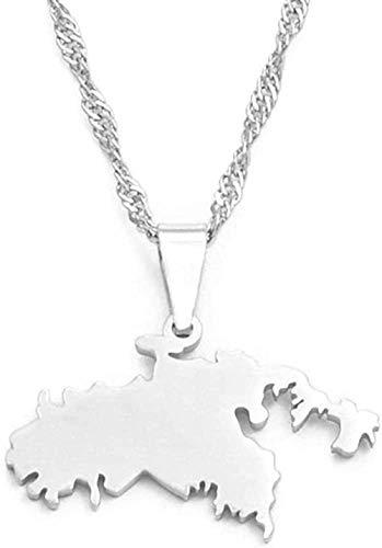 BACKZY MXJP Halskette Halskette Klein Die Jungferninseln Der Vereinigten Staaten St. John Map Anhänger Halsketten Für Frauen Mädchen Saint John Schmuck Geschenke