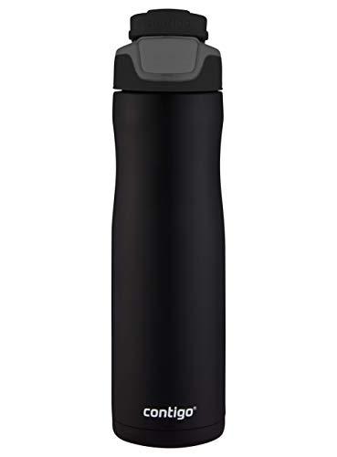 Contigo Trinkflasche Autoseal Chill Matte Black, Edelstahl Wasserflasche mit Autoseal Technologie, Isolierflasche hält Getränke bis zu 28 Stunden kalt auslaufsicher, BPA-frei, 720 ml