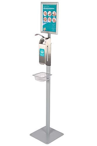 Hochwertiger Desinfektionsmittel-Ständer Desinfektionsmittelspender aus Edelstahl Desinfektionsmittel-Station mit Standfuß A4 Rahmen und Abtropfer ST03