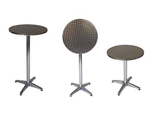 DEGAMO Funktions - Stehtisch Marcel 60cm rund, Aluminium, Tischplatte Edelstahl 60cm.