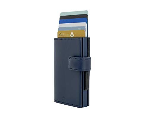Ögon Smart Wallets - Cascade Wallet Snap Cartera Tarjetero - Protección RFID: Protege Tus Tarjetas de Robar - hasta 8 Tarjetas + Recetas + Notas - Aluminio y Cuero (Azul Marino)