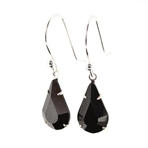 pewterhooter 925 Sterling silver drop earrings for women made with sparkling Jet Black tear-drop crystal from Swarovski. Gift box. Hypoallergenic & Nickle Free for Sensitive Ears