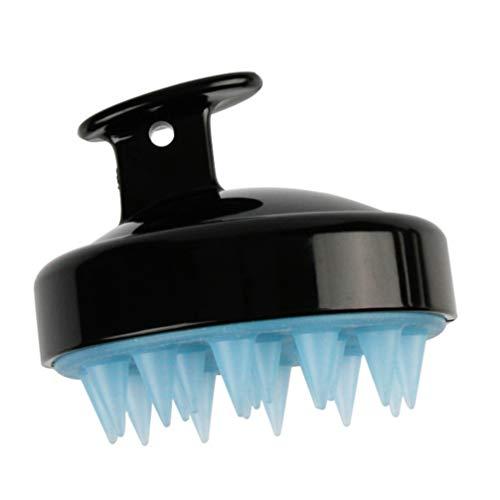 Healifty Haar Kopfhaut Massagegerät Shampoo Bürste Handbuch Weiche Silikonborsten Kopfmassagegerät für Frauen Männer Haarwuchs Und Stressabbau (Schwarz)