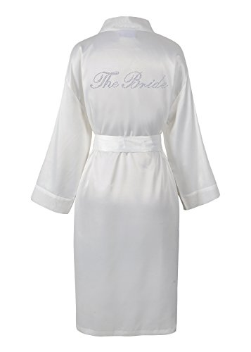 CrystalsRus Elfenbein Varsany Hochzeitstag Strass Satin Die Braut Bademantel individueller Flitterwochen Morgenmantel