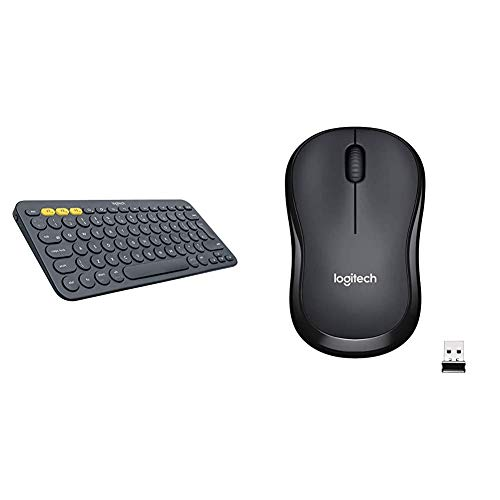 Logitech K380 Wireless Multi-Device Keyboard - Black & M220 Wireless Mouse, Silent Buttons, 2.4 GHz with USB Mini Receiver, 1000 DPI Optical Tracking, 18 Month Battery Life - Charcoal Grey