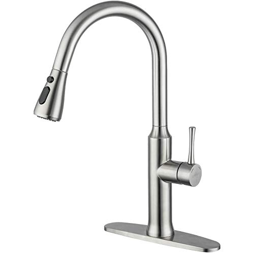 GAPPO Pull Down Kitchen Faucet Brushed Nickel Stainless Steel, High Arc Modern Single Handle Kitchen Sink Faucet with Pull Out Sprayer