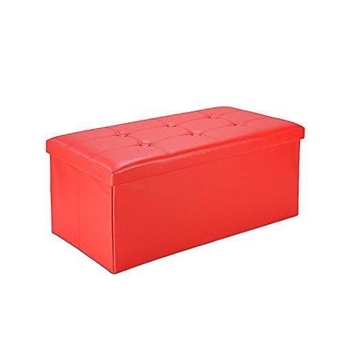 Todeco - Panca Pieghevole in Pelle, Ottomana Pieghevole per Conservare - Carico Massimo: 150 kg - Materiale: Finta Pelle - Cucita e con Finitura Trapuntata, 76 x 38 x 38 cm, Rosso