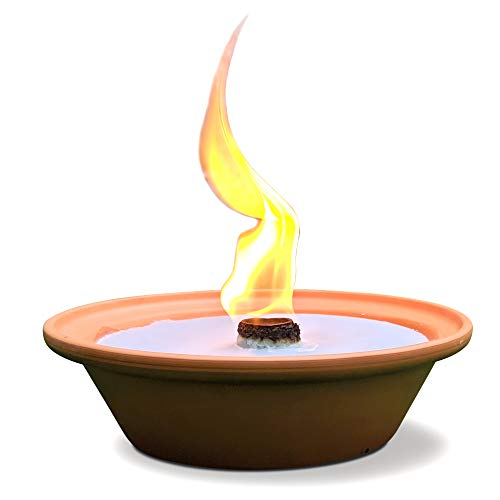 Hyoola 5 Hour Outdoor Firebowl Candle - Unscented Large Flame Wick in Terra Cotta Bowl - Insect and Mosquito Repellent Effect - for Table, Patio, Yard, Camping, Outdoors - Blue.