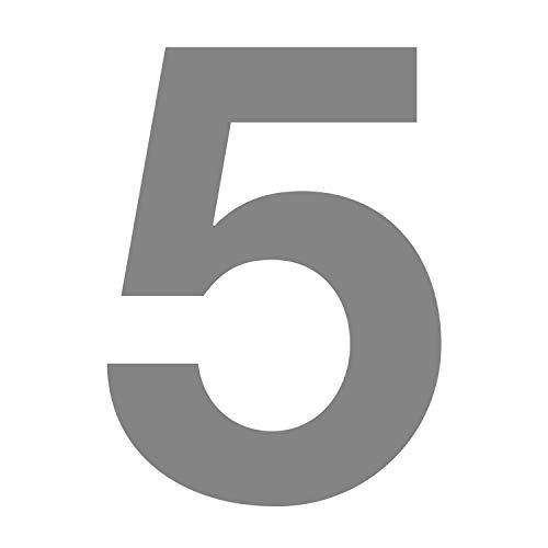 Zahlen-Aufkleber Nr. 5 in silber I Höhe 10 cm I selbstklebende Haus-Nummer, Ziffer zum Aufkleben für Außen, Briefkasten, Tür I wetterfest I kfz_675_5