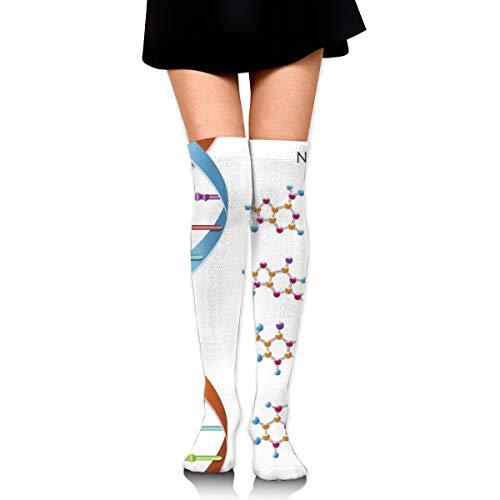 ghkfgkfgk DNA Bases Chemistry Biochemistry Biotechnology Science Spiral Symbol Genetic Sports Recreation Compression Socks Unisex Printed Socks Fun Long Cotton Socks Over The Calf Tube 23.6 Inch