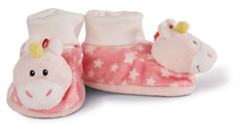 NICI 43655 Baby Booties Unicorn with Rattle, 13 x 7.5 x 7 cm Babyschuhe Einhorn Stupsi mit Rassel, Rosa