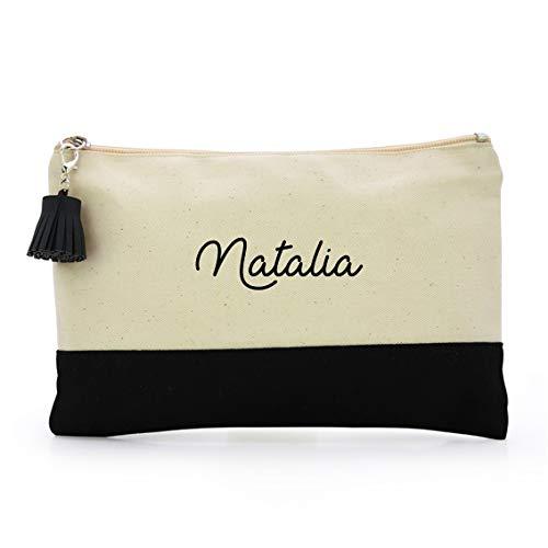 Neceser Bolsa de aseo mujer personalizado con nombre .Color blanco y negro.Modelo