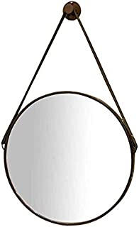 Daily Necessities Round Vanity Mirror with Brown Leather Hanging Strap Wall Mount Makeup and Shaving Mirror (Size : 60cm) (Size : 30cm)