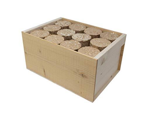 Bricchetti di legno naturale, lunga durata, prodotto e confezione 100% ecologico (8 KG)
