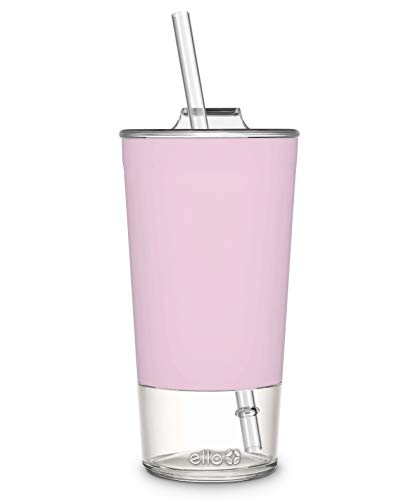 Ello Tidal Glass Tumbler with Straw, Cashmere Pink, 20 oz. (824-0431-075-6)
