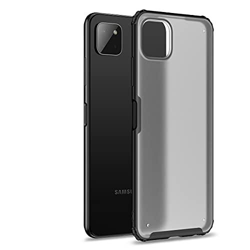 Hauw Funda para Samsung Galaxy A22 5G Caso,Cubierta Protectora Esmerilada Translúcida,Parte Posterior de PC y Cubierta Posterior de Borde Suave de TPU para Samsung Galaxy A22 5G,Negro