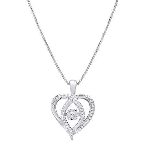 Sterling Silver Dancing Diamond Heart Pendant Necklace (1/6 cttw, I-J Color, I1-I2 Clarity), 18'