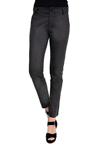 Zhrill Damen Stoffhose Anzugshose Tapered Slim Fit Ada, Farbe:N182 - Dark Grey, Größe:W27 / L30