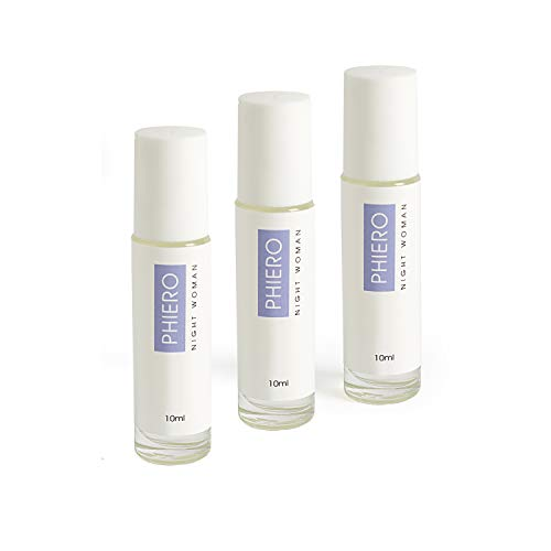 Phiero Night Woman - Pack 3 Perfumes Roll-ON de bolsillo con 4 tipos de feromonas para mujer