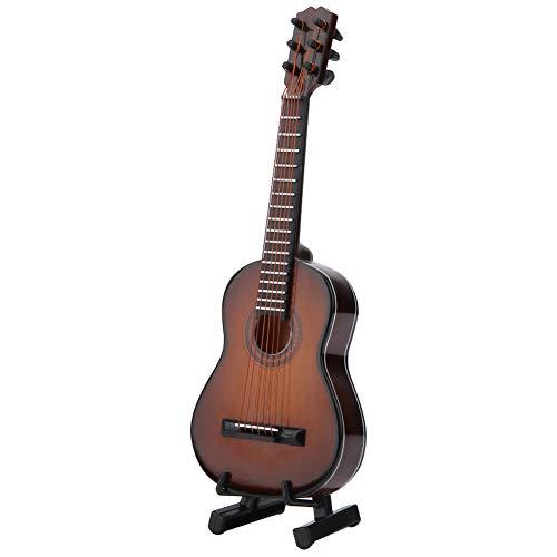 Tonysa Miniatur Holz Gitarre Modell Dekor, Mini Musikalische Ornamente Handwerk Home Office Dekor mit Stand und Box, Geschenk für Kinder Freunde Familie(Braun, 14 * 4.9 * 1.5cm)