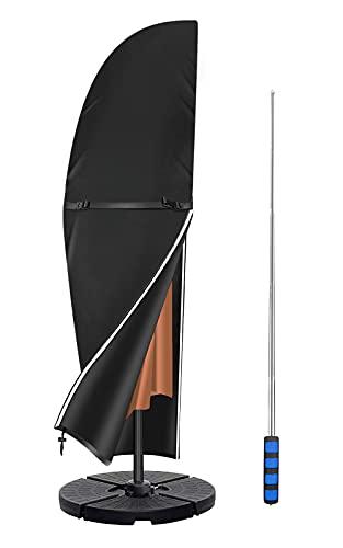 Callni Ampelschirm Schutzhülle für Große Schirm 2 bis 4m, Sonnenschirm Abdeckung mit Stab, wasserdichte, Wetterfest,Reißfestes Strapazierfähiges Oxford 600D Material Ampelschirm Hülle(265) 50x70x40cm