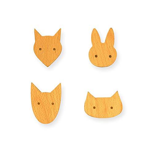 K+B Wandhaken Set - 4 Tierhaken für Kinder aus Holz - handgearbeitet & veredelt - Massivholz - Garderobe - Kleiderhaken Wand - Möbelgriffe