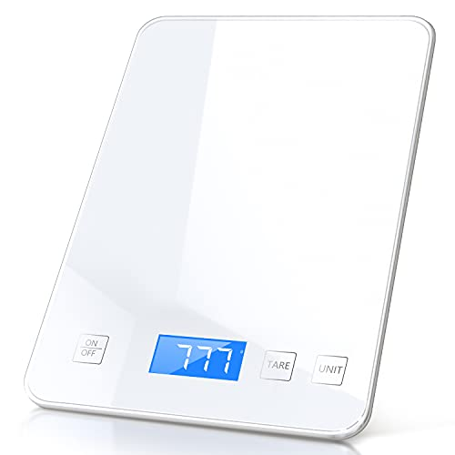 Raymeefa 22lb Digital Food Scale, 1g/0.1oz Accuracy, Easy to use on Cooking Baking, Making Drinks, Tempered Glass, Weight Grams and Ounces Digital Kitchen Scale and Coffee Scale