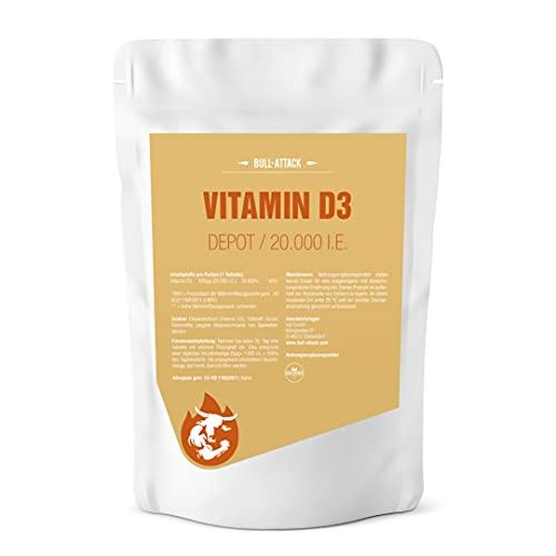 VITAMIN D3 DEPOT 20000 I.E. - 360 vegane Tabletten - Für Immunsystem, Knochen, Zähne und Wohlbefinden - Sonnenschein Vitamin D - reines Cholecalciferol