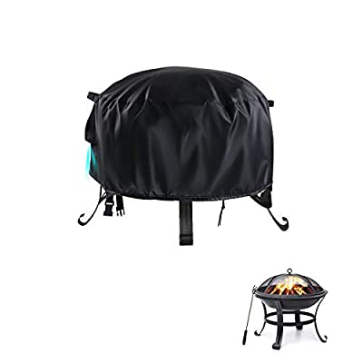 """POMER Fire Pit Cover Round Ø66x31cm,Waterproof Heavy Duty Patio Fire Bowl Cover with Buckles, Drawstring for 26"""" Gas Fire Fable by POMER"""