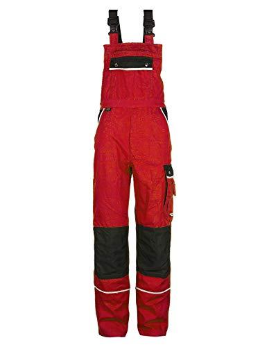 TMG® Arbeitslatzhose Herren, Lange Arbeitshose mit Latz und Kniepolstertaschen Rot 56