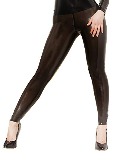 Eer vrouwen legging in rubber zwart maat UK 10 (S), Latex kleding, rubberen kleding