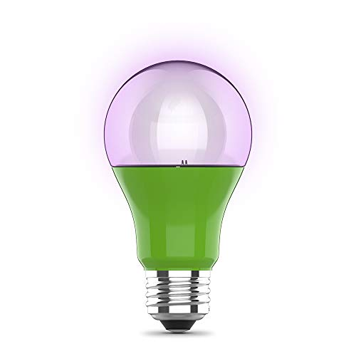 """Feit Electric A19/GROW/LEDG2/BX 60W Equivalent 9W Indoor Greenhouse Garden Outdoor Full Non-Dimmable Plant Grow Light Bulb, 4.5"""" H x 2.25"""" D, 448nm Blue to 630nm red spectrums"""
