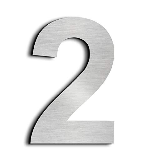 """Nanly – Hausnummer """"2"""" (die Zahl Zwei), aus massivem 304er-Edelstahl, Schwebe-Effekt, 15,3 cm, einfach zu montieren, number 2"""