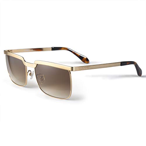 LORSEX Sunglasses for Men Retro Sports Driving Fishing Running Baseball Golf Sun Glasses Gradient Brown Gold