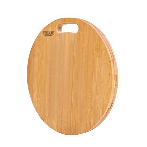 JianMeiHome Tagliere Tagliere Taglieri Rotonda di bambù Tagliere Anti-Cracking Tagliere Prova della Muffa Facile da Pulire Tagliere (Color : Wood, Size : 39cm)