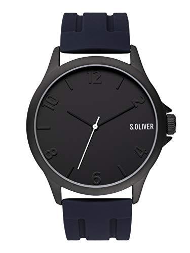 s.Oliver Herren Analog Quarz Uhr mit Silikon Armband SO-3905-PQ